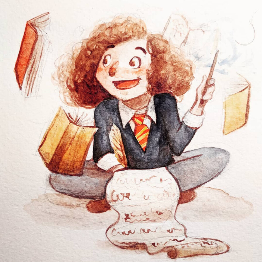 Hermione Granger, drawn and painted for Inktober 2018.