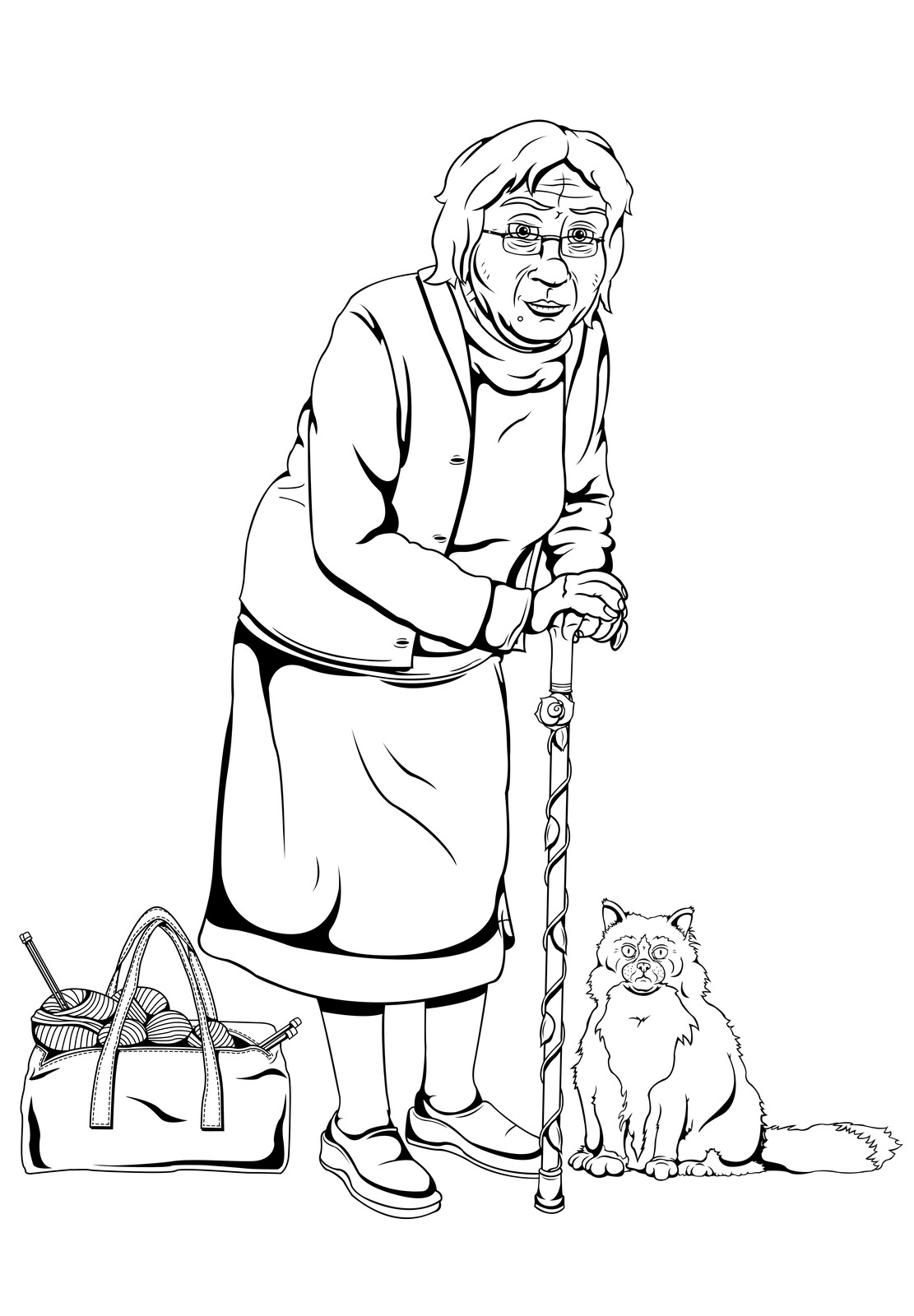 Early development art for a sweet old lady who aids Tracey on his journey through limbo.