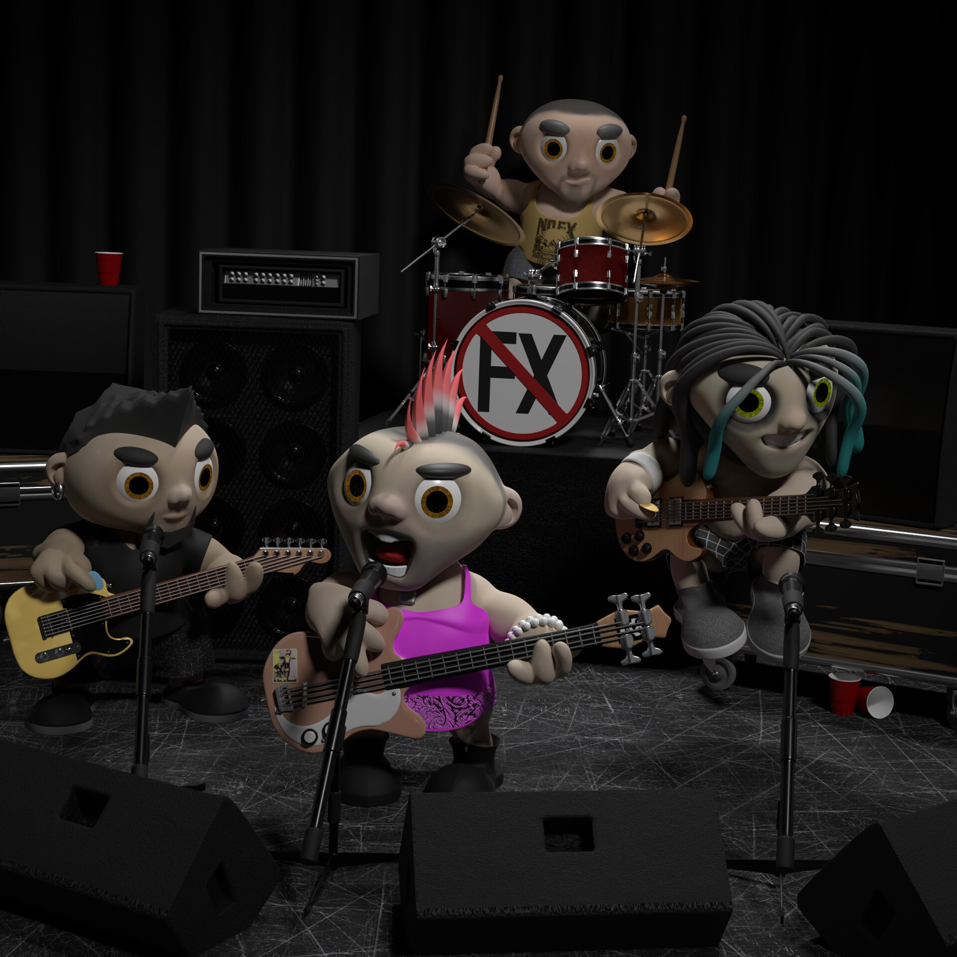 DAY 5: The band rigged and posed in scene with props