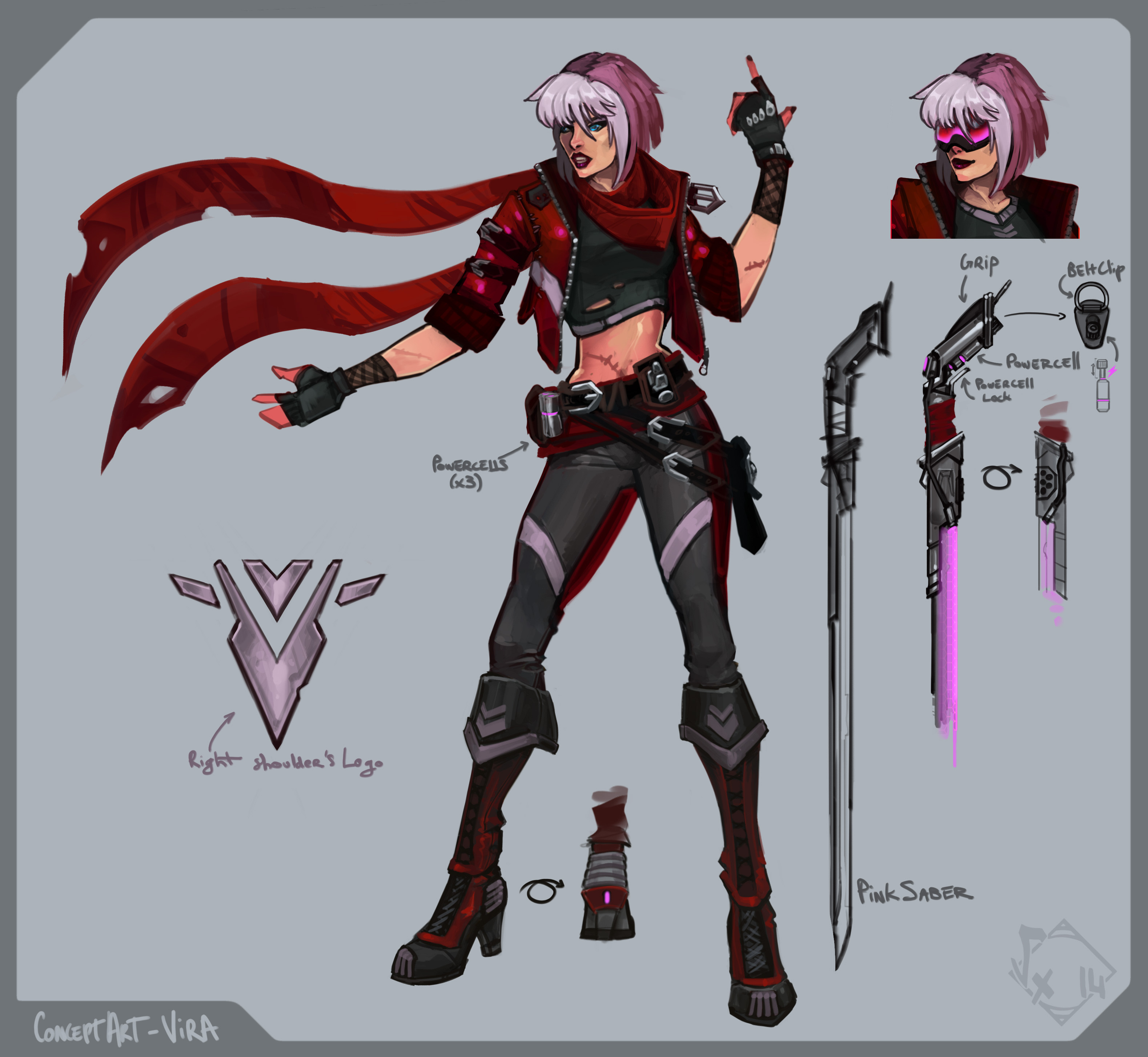 Vira - ConceptArt I made using Mischief (for rough posing/finding the right pieces) and photoshop (PinkSaber (full), colors, tweaks & finishes)
