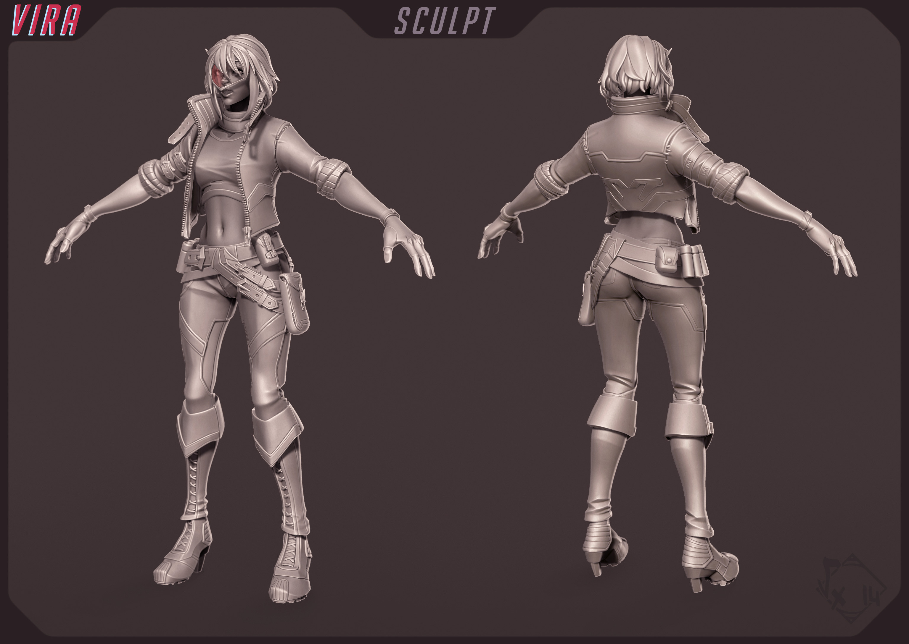 Sculpt, done mostly with ZBrush except a few hardsurface elements (3dsmax then imported as InsertMeshes)