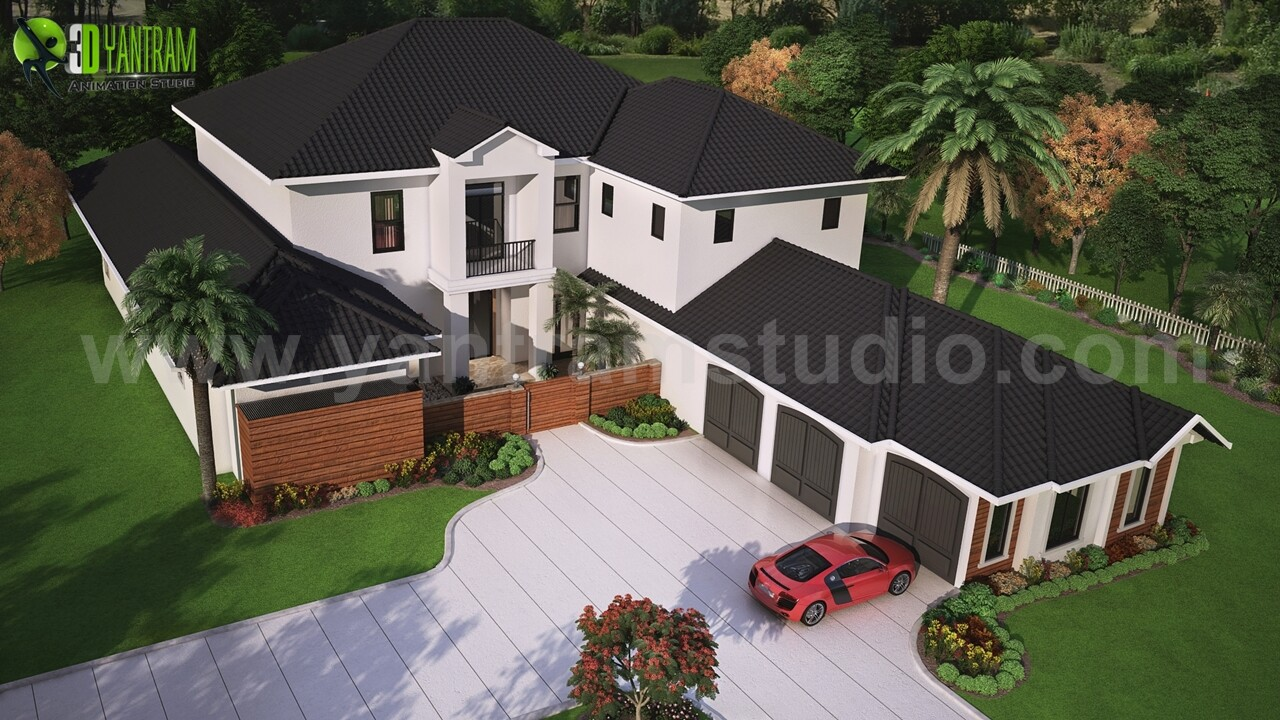 Artstation Modern Exterior Rendering Services Top View With Brown Metal Roof House Washington Usa Yantram Architectural Design Studio
