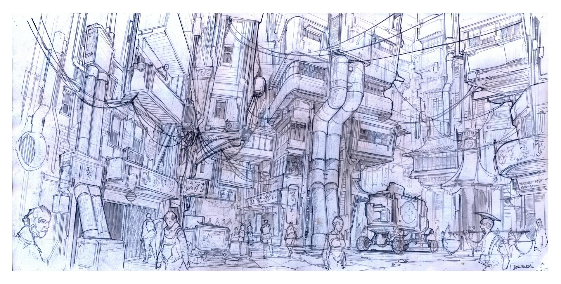 Alejandro burdisio jungle city pencil sketch1
