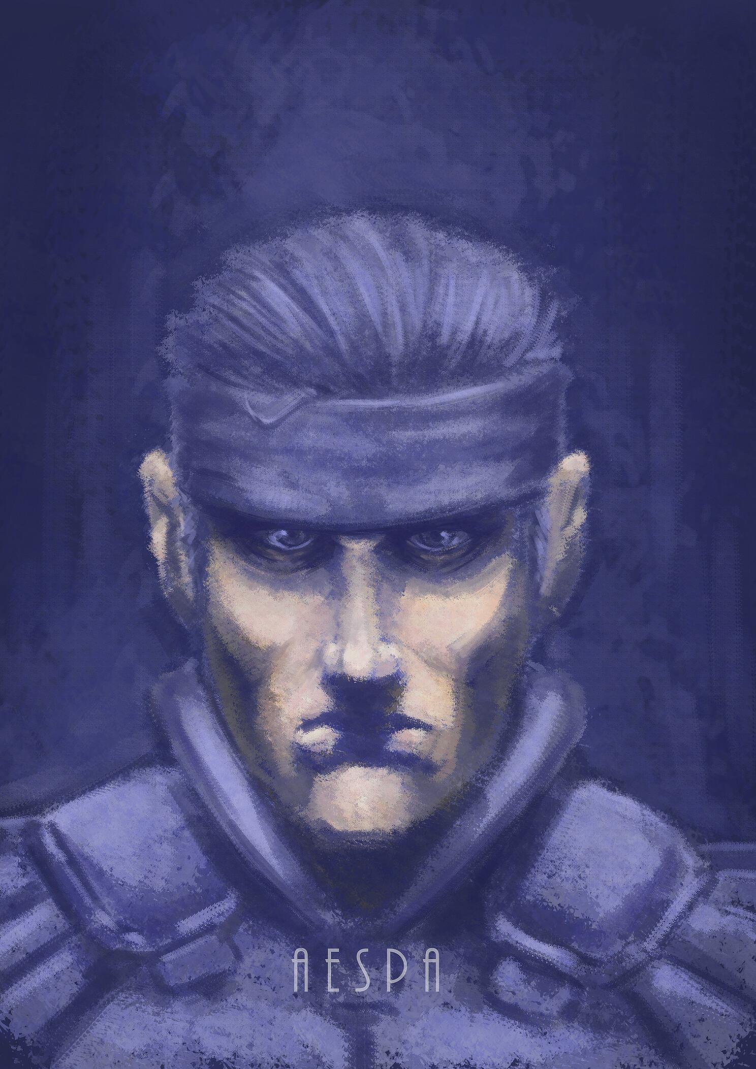 Artstation Solid Snake Portrait Alberto Esparza