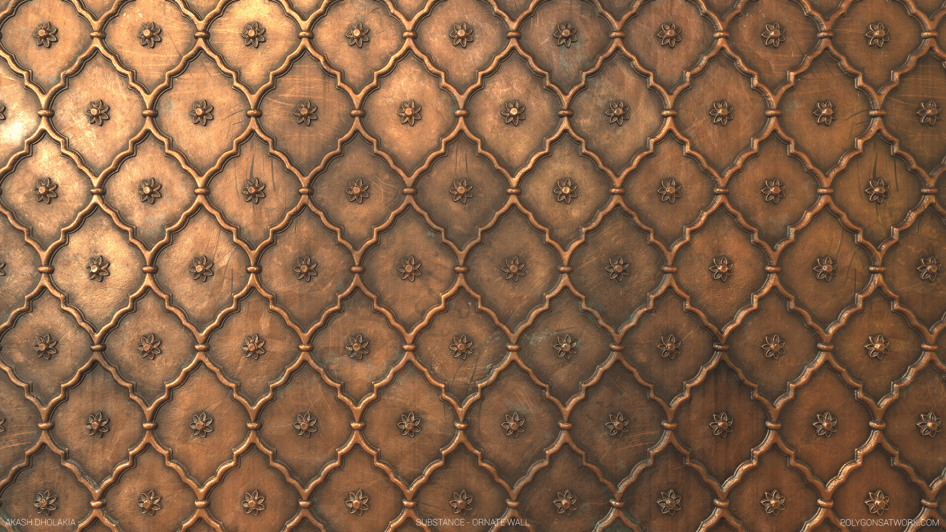 Worn Copper Ornate Door Material.