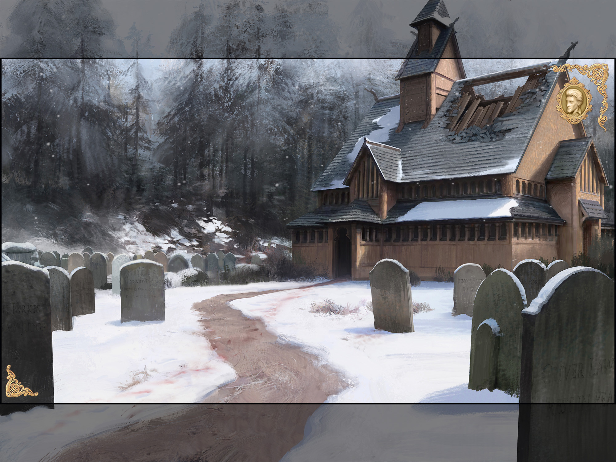 I researched period Norwegian architecture and their beautiful stave churches. Liberties were taking for sake of atmosphere, but the process and result was really fun. There are many incredibly underrated Norwegian landscape painters that inspired me!