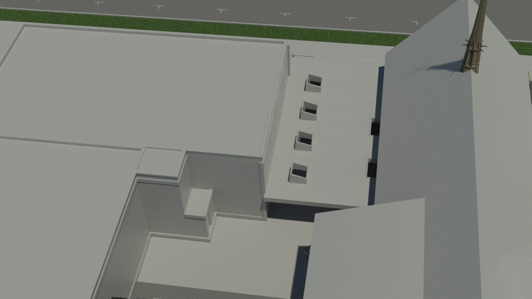 Old work - basic massing from above showing skylights into courtyard below