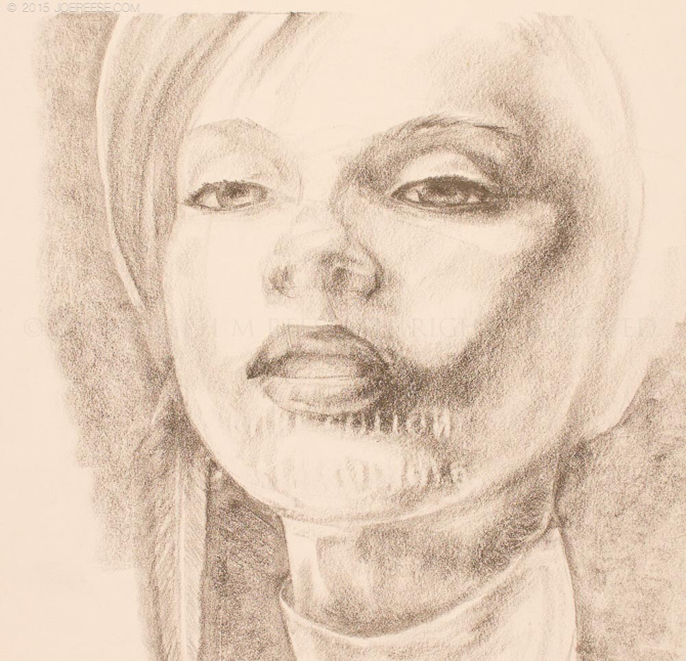 pencil sketch from a magazine foto on resume paper