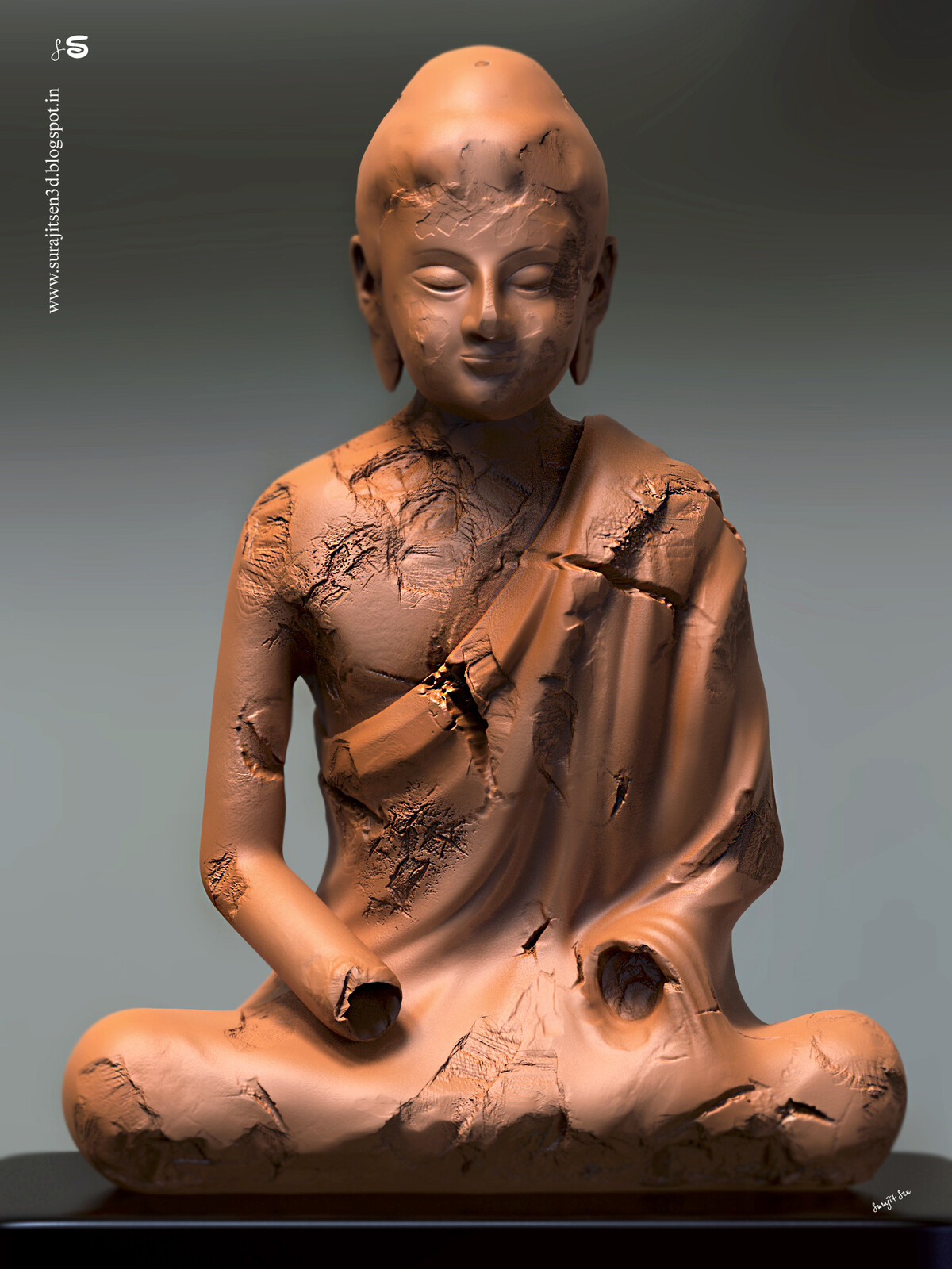 """I like Ancient Art.Wish to share one of my Digital Sculpt Art """"Amitava"""". Inspired by Early 7th century Tang dynasty (China,618–907) Sculpture."""