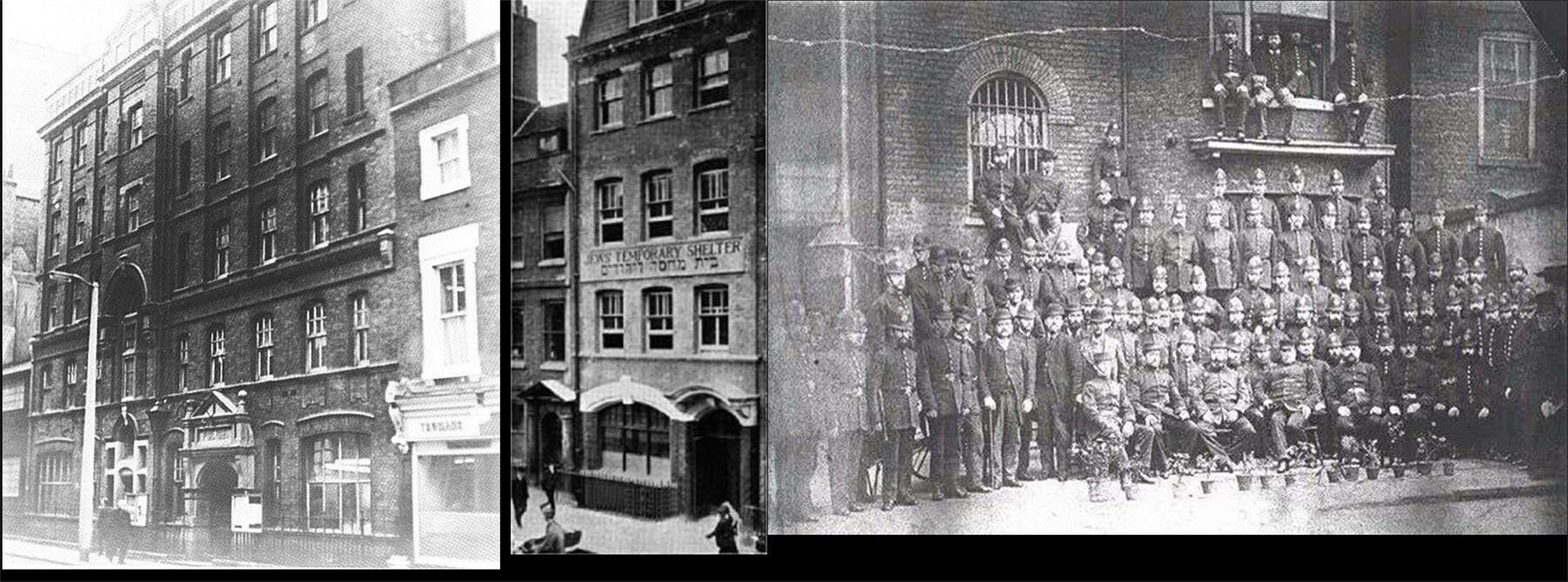 1: The only extant photo of the building used by the police investigating the Ripper case. 2: A photograph of a nearby building important to the setting. 3: The back of the station, the force posing with flowers(!)