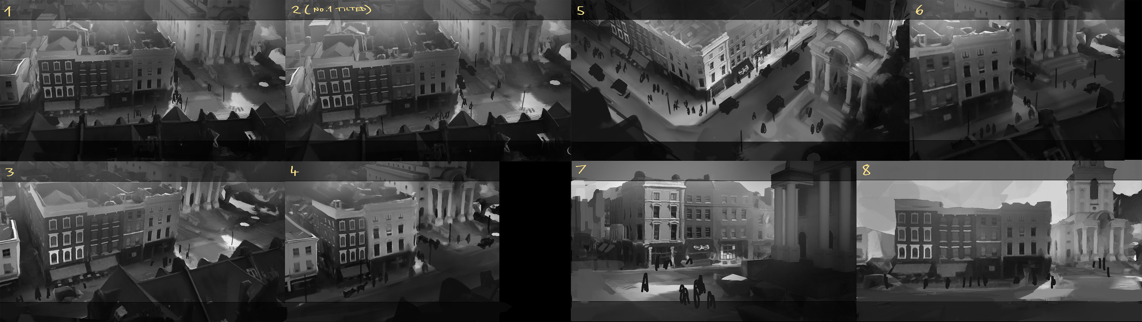 Some early thumbnails, using (very) rough satellite data I grabbed with photogrammetry, and then simplified and painted over in Photoshop. The street on the left is in focus here because the far-left alley is an important location we visit in the game.