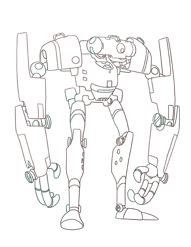 Robot Hero Design - Linework