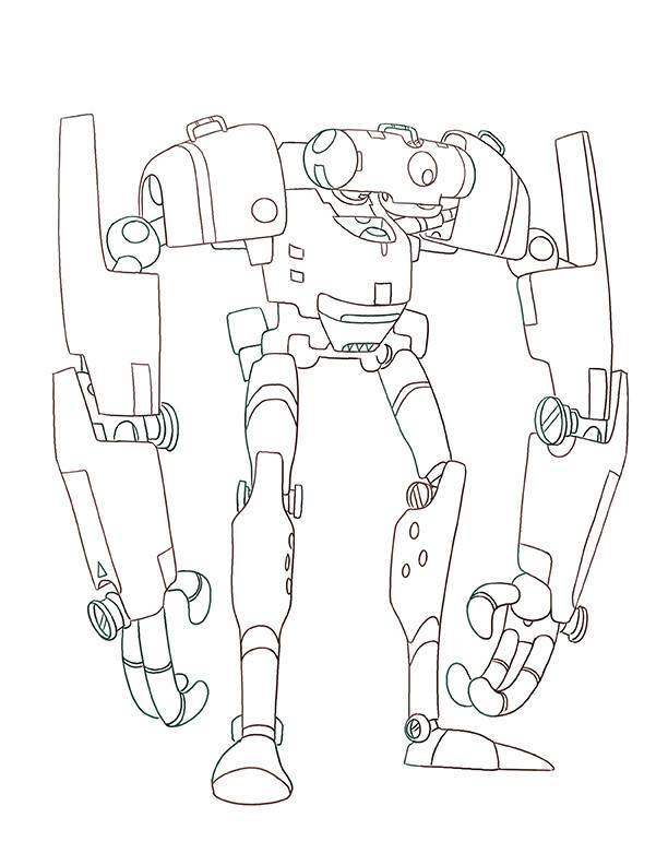 Robot Hero Design - Linework