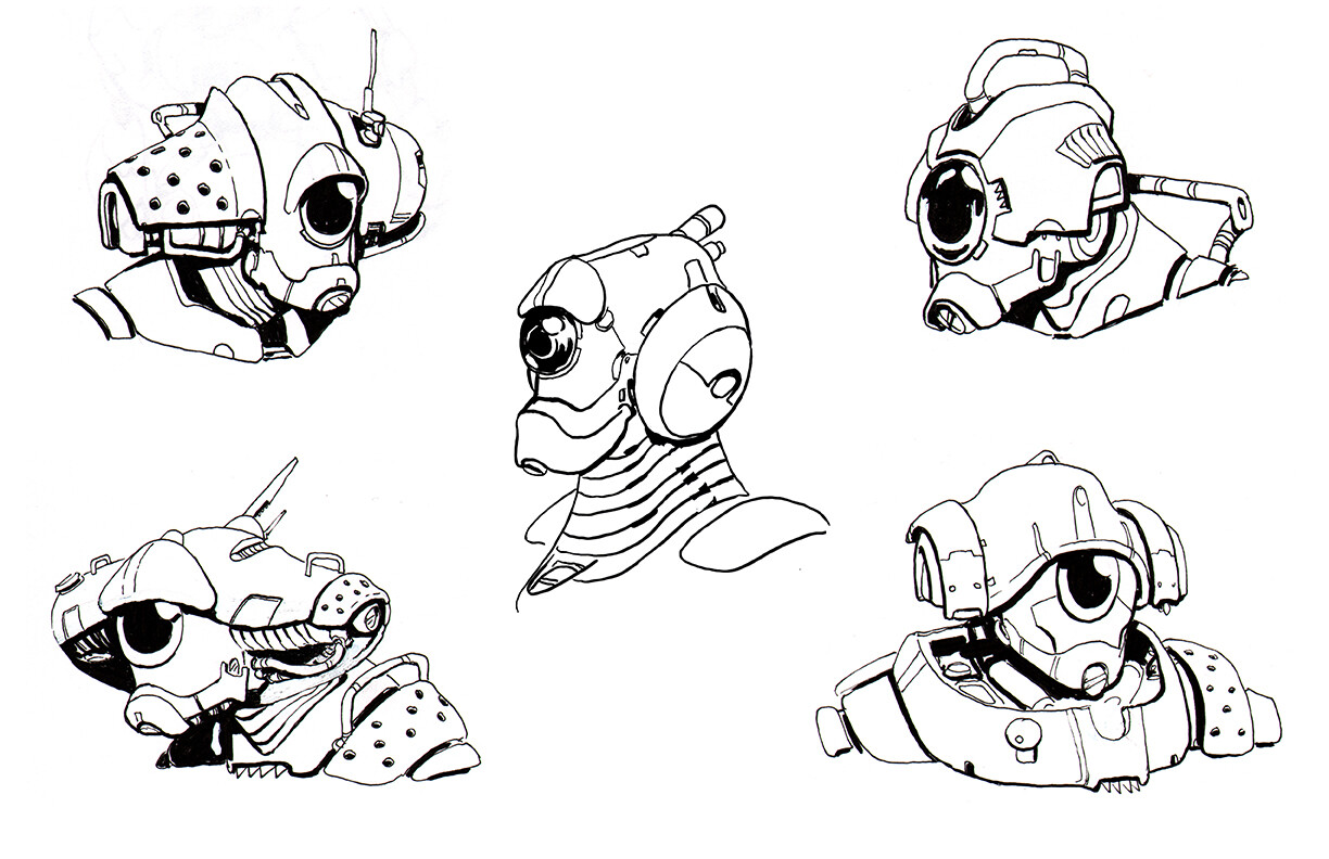 Hero Robot Design - Heads