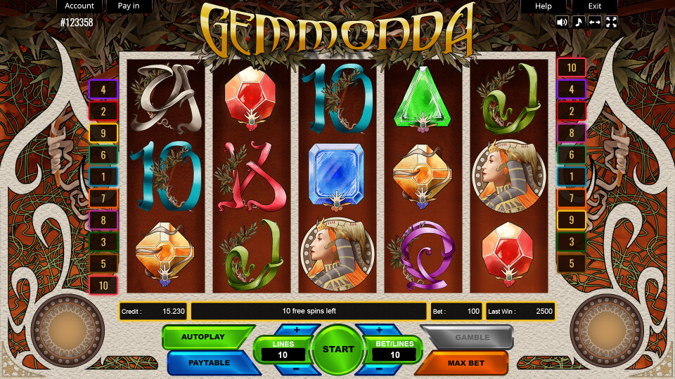 Gemmonda - Main Screen