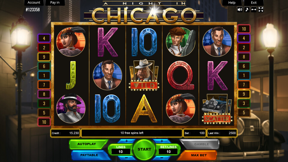 A Night in Chicago - Main Screen