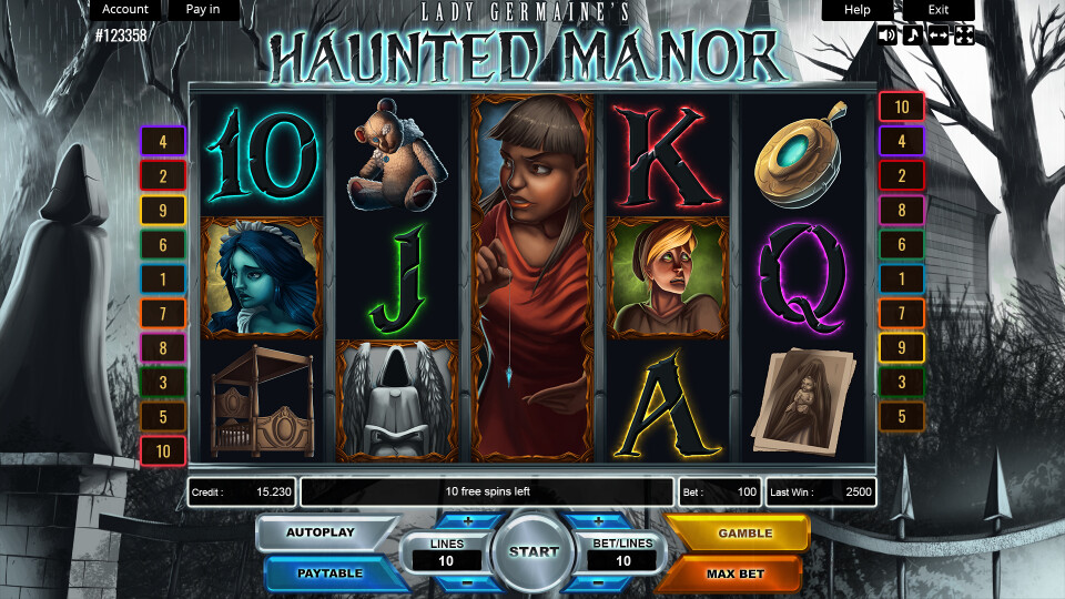 Lady Germaine's Haunted Manor - Main Screen