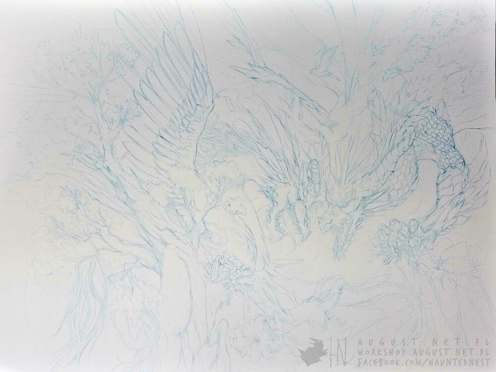 Sketch in blue pencil