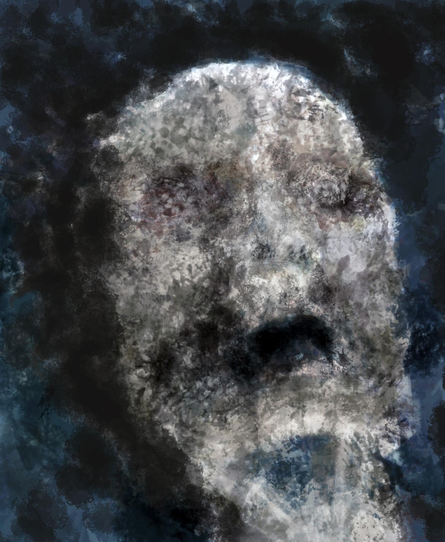 George mylonas skull withflesh blue