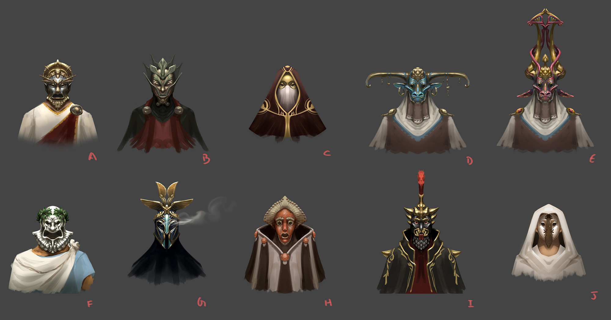 The cast of villains were described as masked senators. I liked the idea of each mask using a different material prevalent during the Roman Empire.