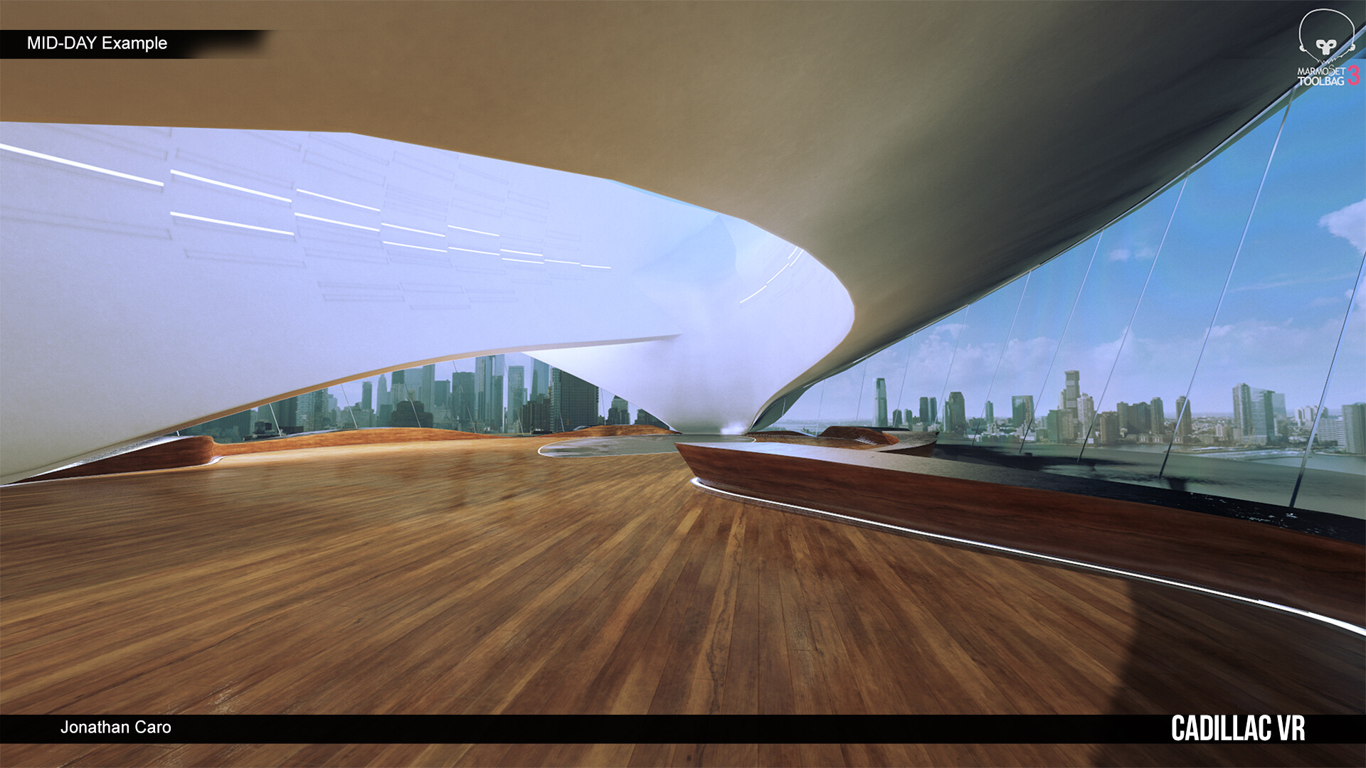 Mid day render, re-authored from Cadillac in VR environment work.