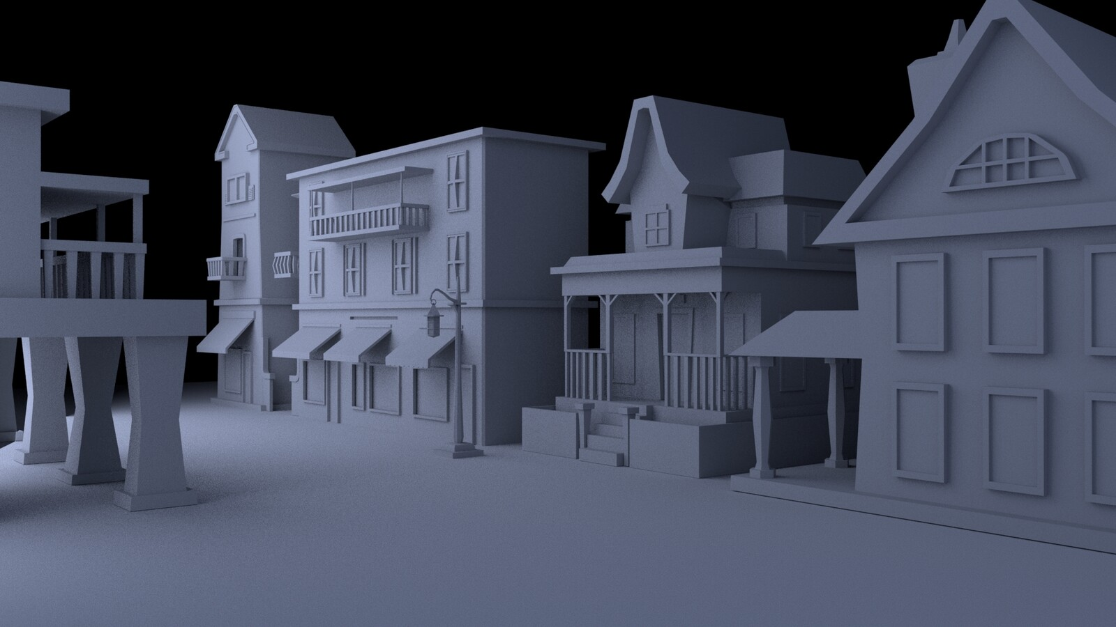 Shot of the low-poly buildings on a flat surface before they were deformed to fit the sphere