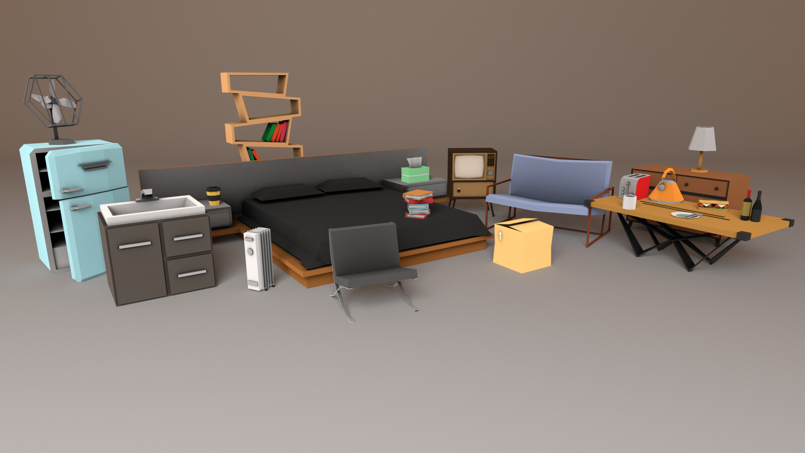 Low-poly Household Props