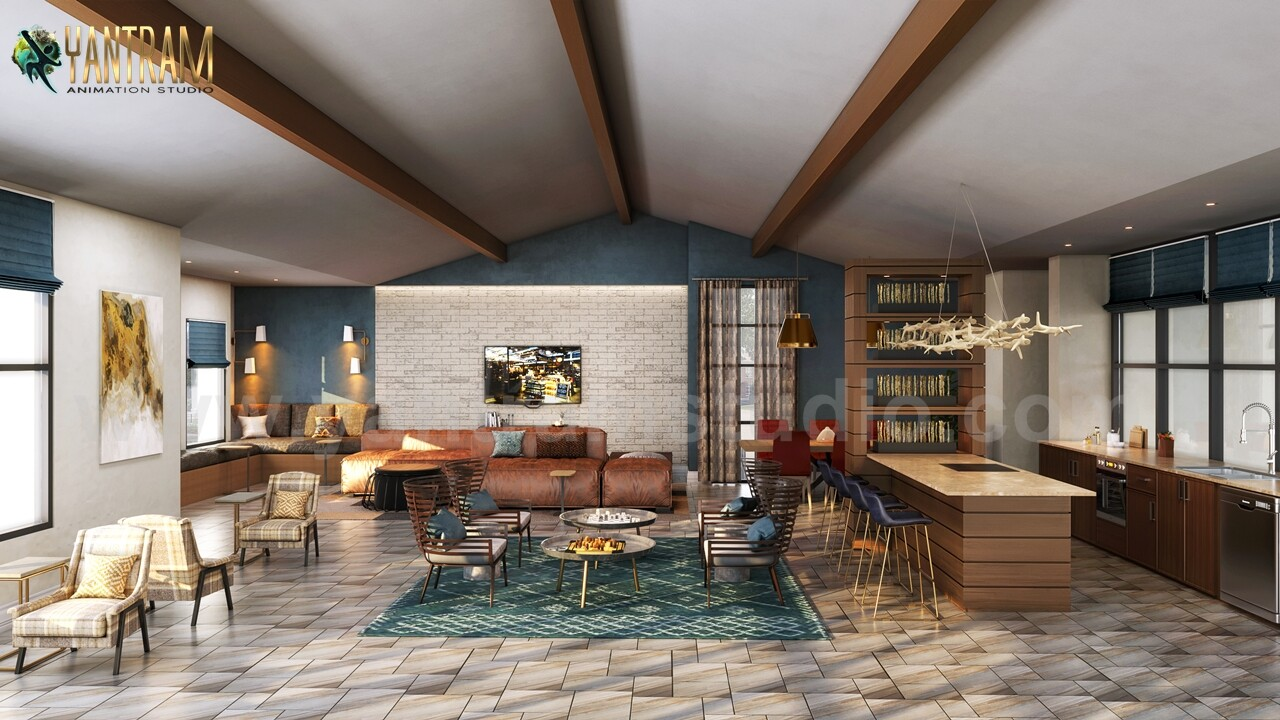 Artstation Modern Clubhouse 3d Interior Rendering Services By Architectural Design Studio Almere Netherland Yantram Architectural Design Studio
