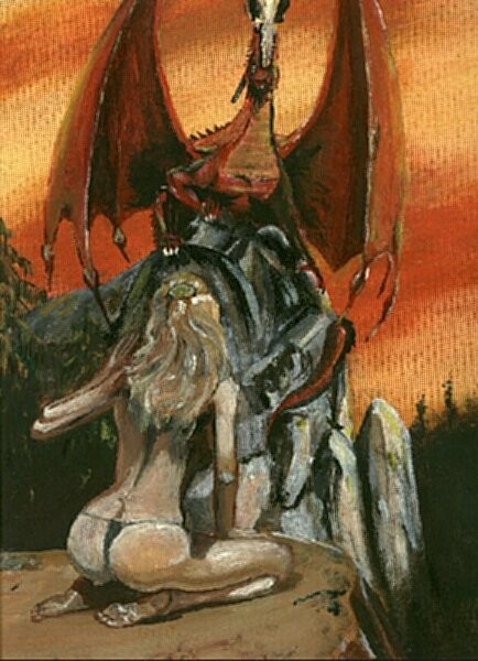 The original fan art image from 1986. I think the pose of the woman  is from a Boris Vallejo Artwork, the dragon has a pose from an RPG-model I created with plaster in 1984 ... (Michael T. Bhatty, 1986)