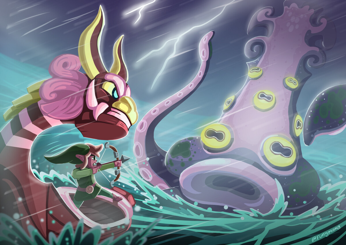 I really love the giant Octorok battles in The Legend of Zelda: The Wind Waker. I wish the game had more epic ocean battles.