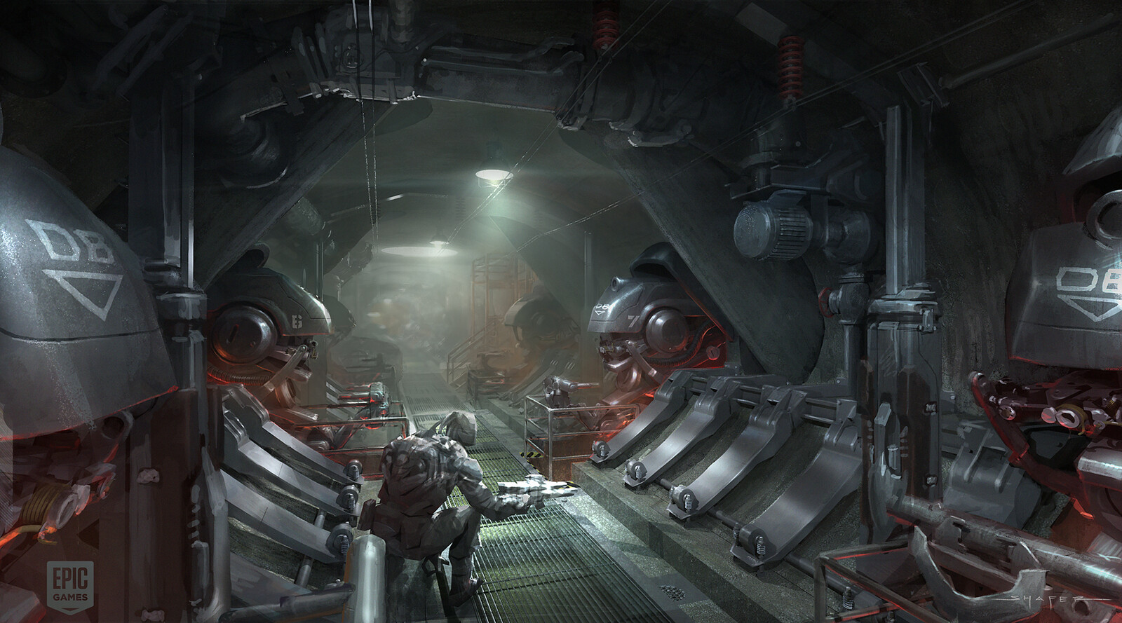 Concept for the side tunnel that the Infiltrator gets spotted in