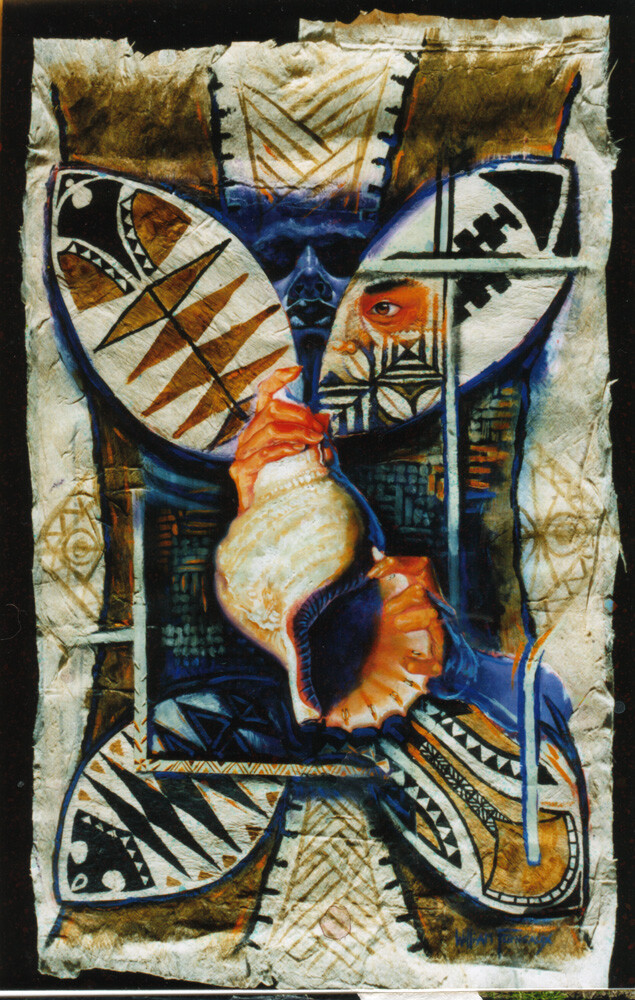 Acrylic on Card and Tapa c.1994
