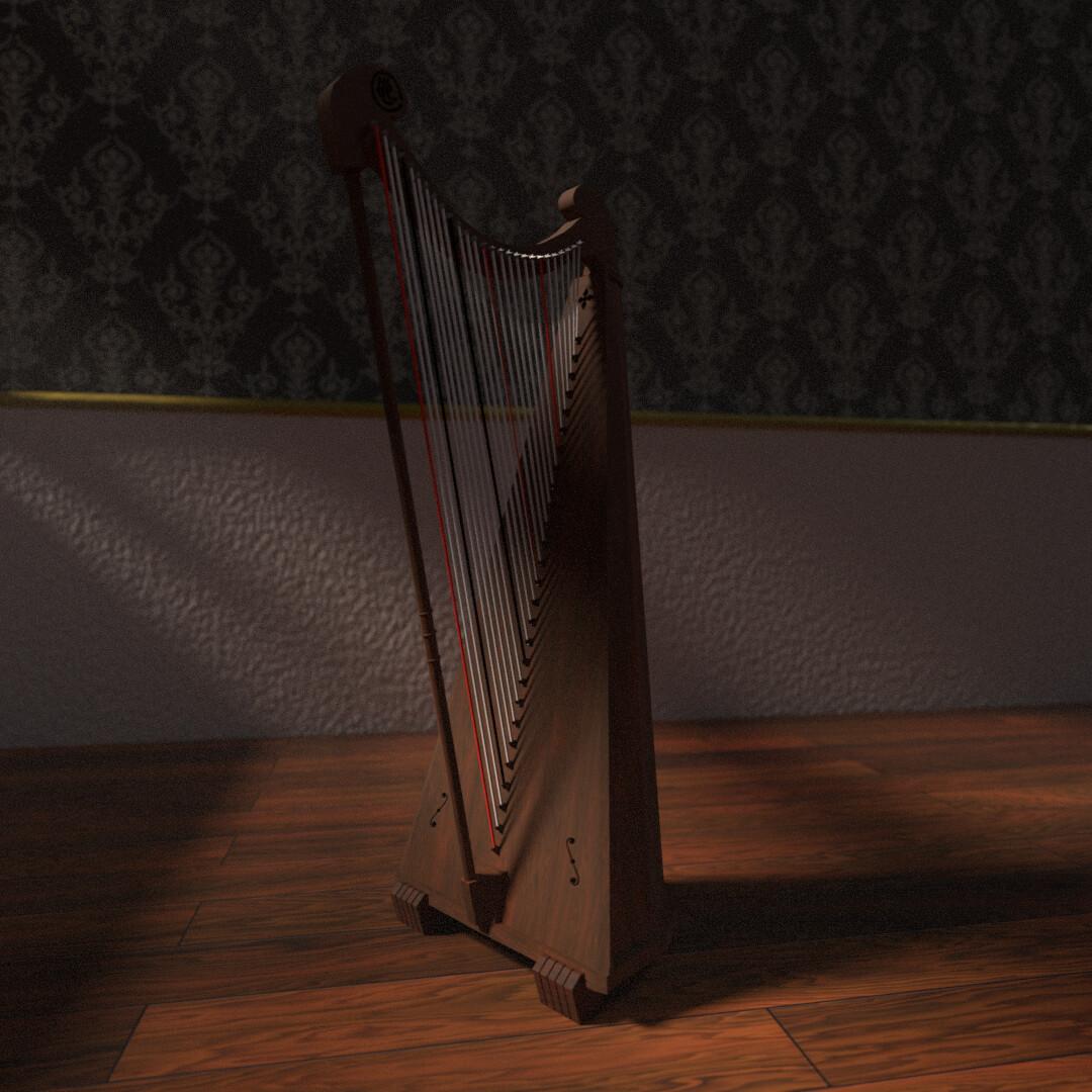 Andres Banos.Artstation Realistic Harp Andres Banos