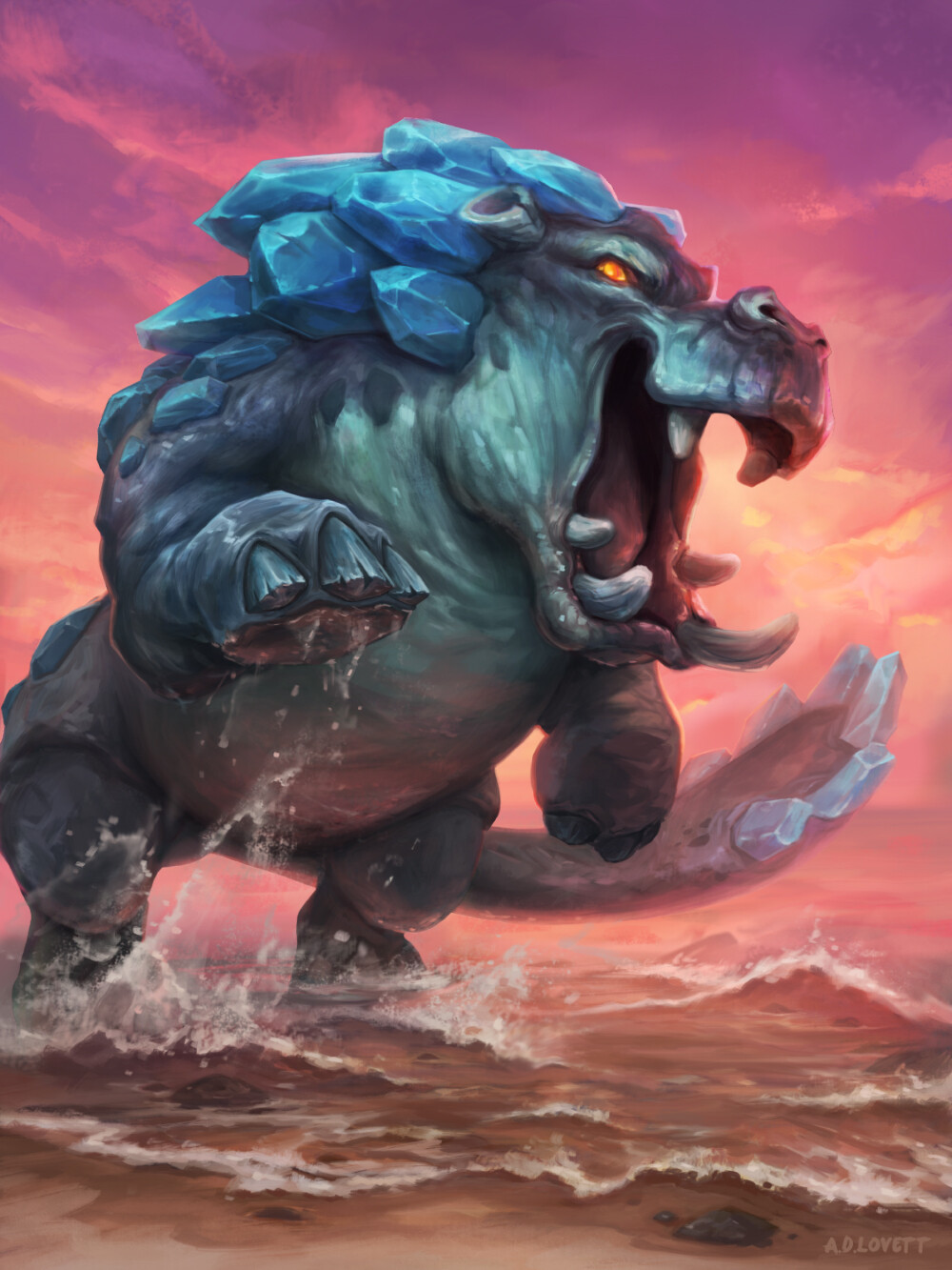 Mock Hearthstone card - Twilight Riverbeast