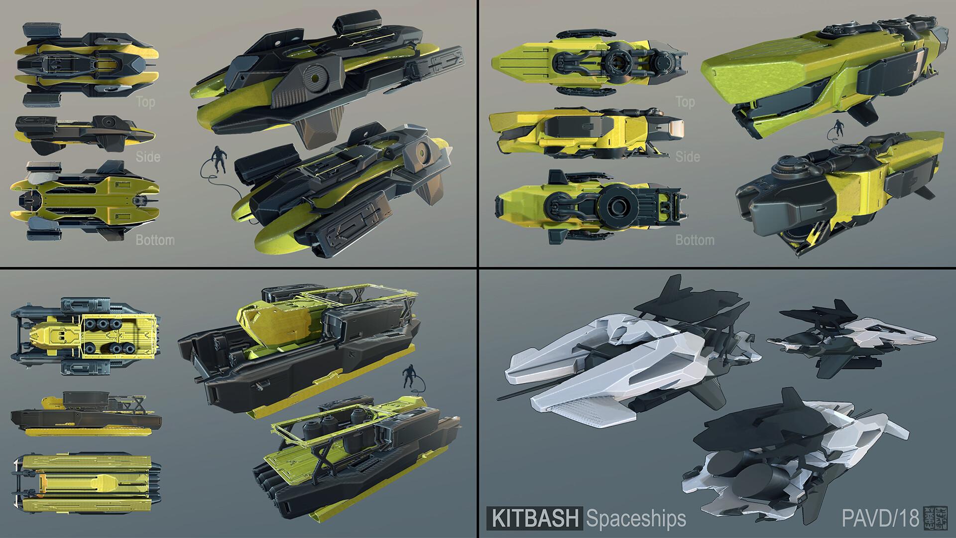 Kitbash spaceship sketches...