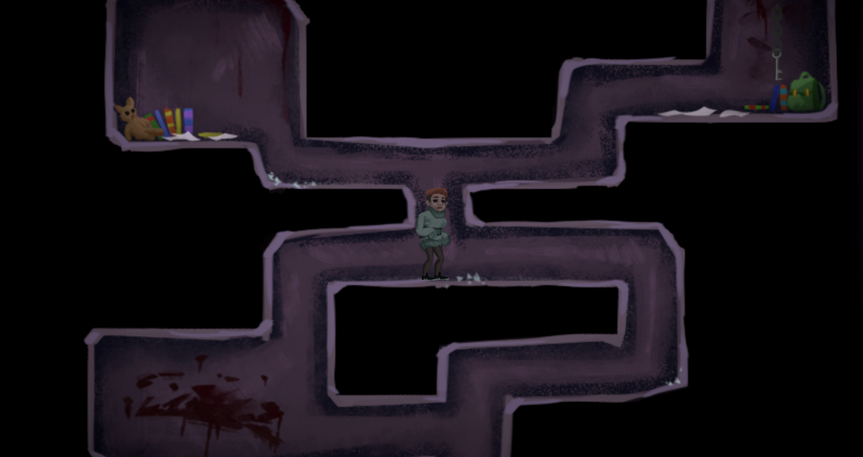 In-game Screenshot #4 – Tunnels that Squishboy can access which reveals his backstory and untimely demise (teddy bear, books, paper, blood, etc)