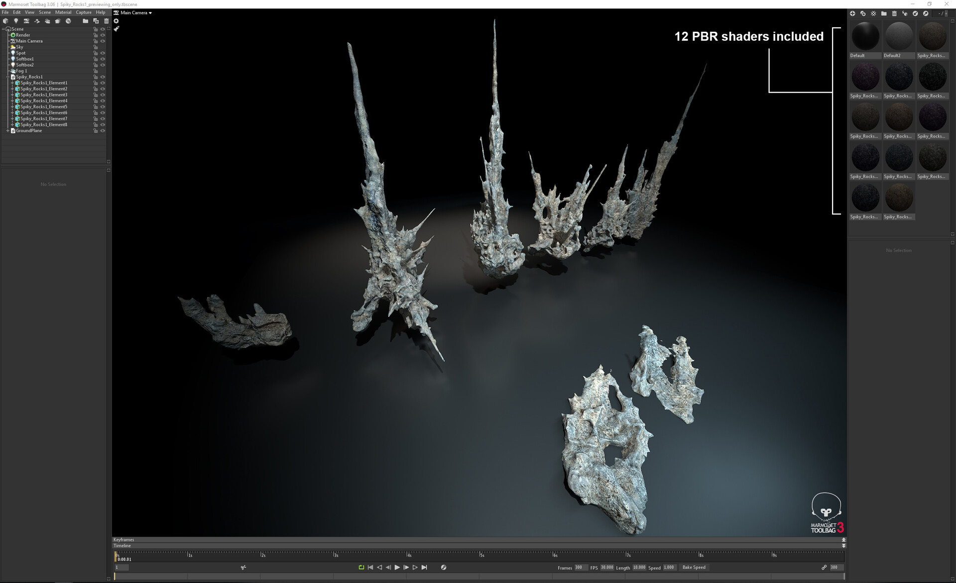 Johan de leenheer spiky rocks marmoset toolbag scene preview