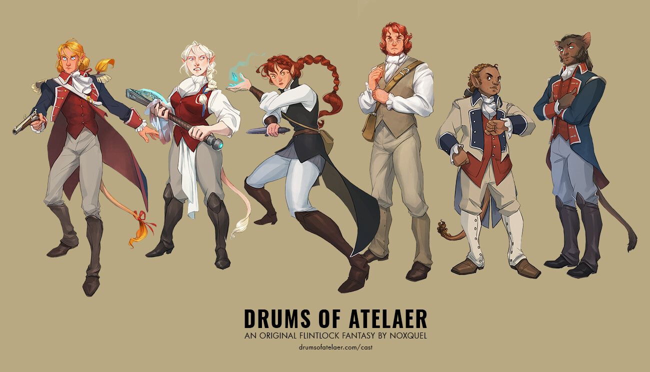 Drums of Atelaer Cast (with props & bios)