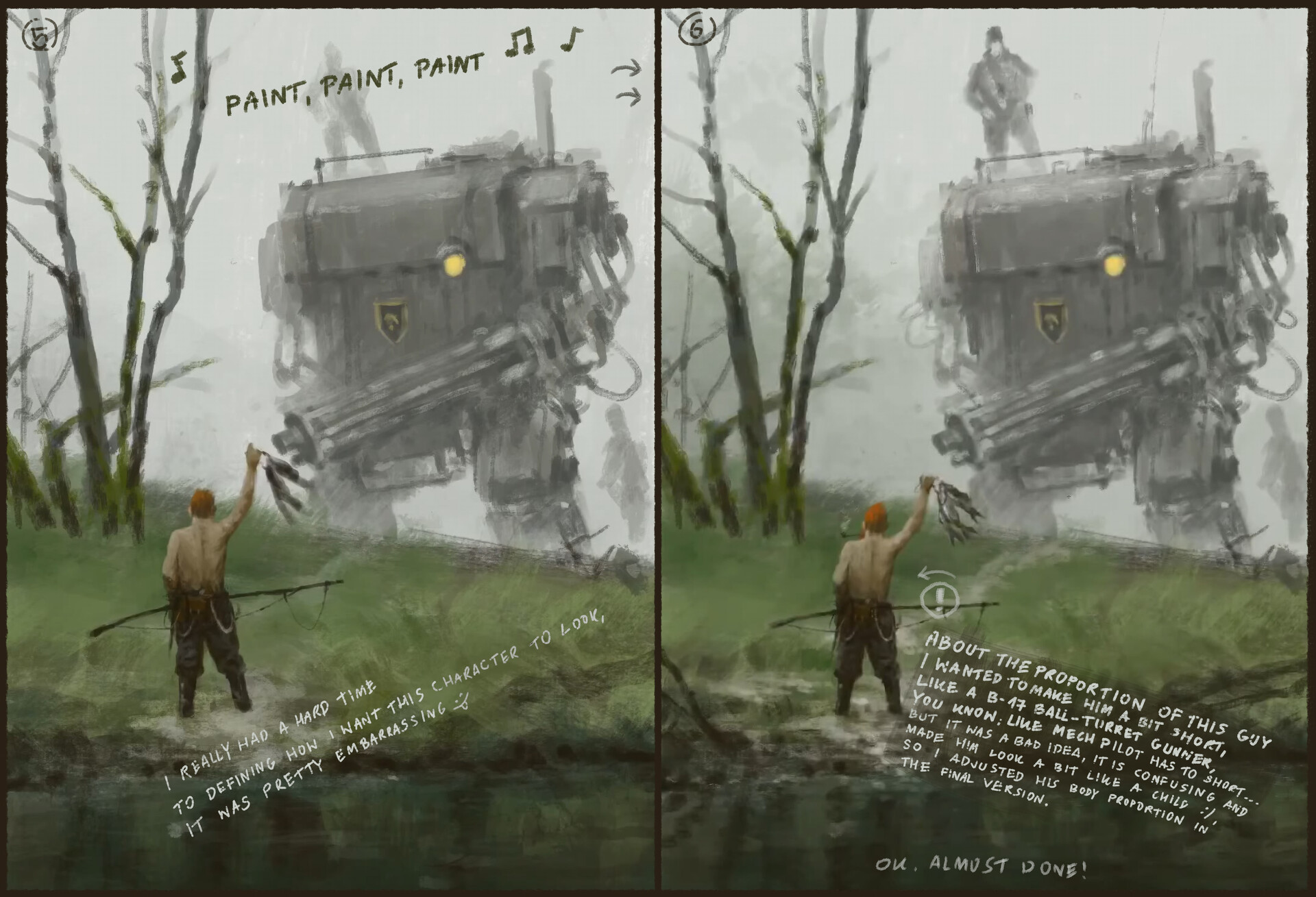 Jakub rozalski 1920 fisherman process3