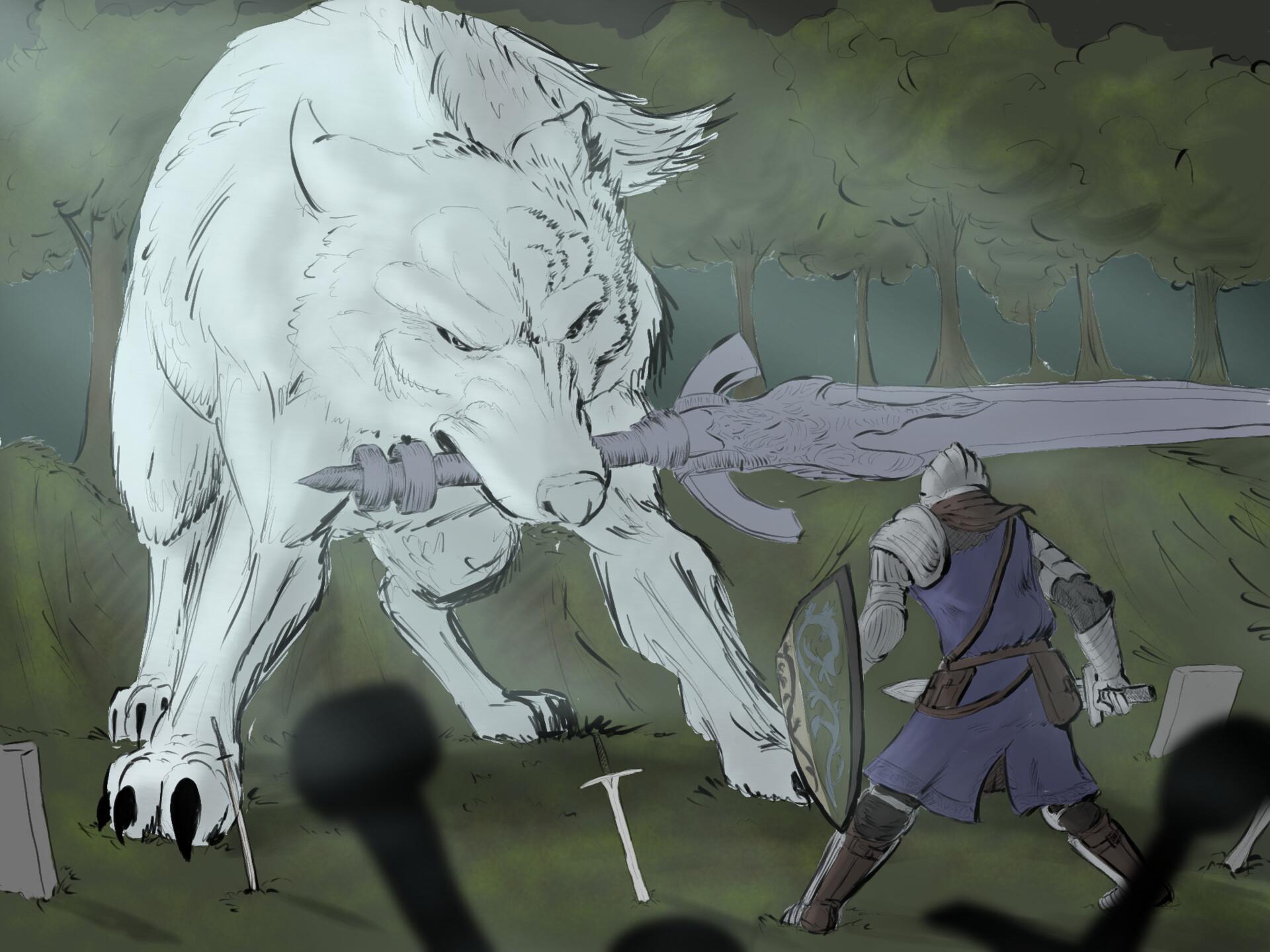 Artstation Fanart Of Dark Souls Boss Sif Great Grey Wolf