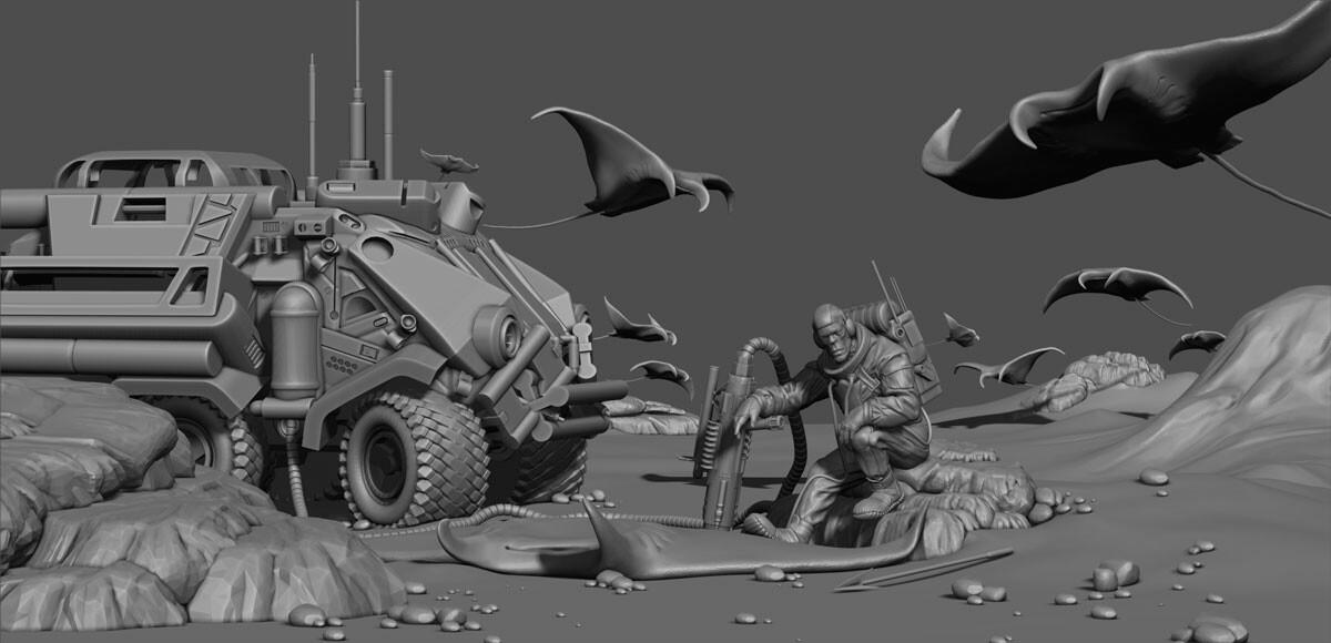 Hunter of the flying stingrays - ZBrush Scene
