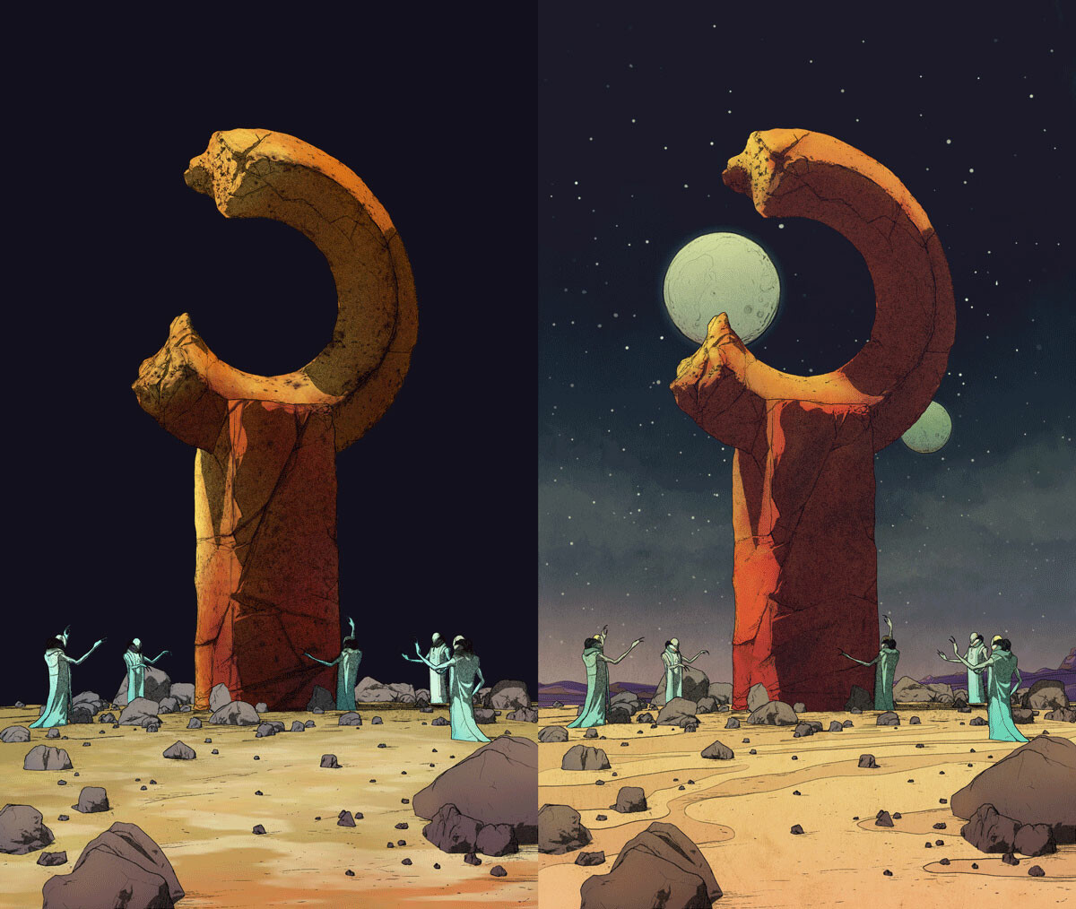 Reverence - ZBrush polypaint and filters  vs final composition
