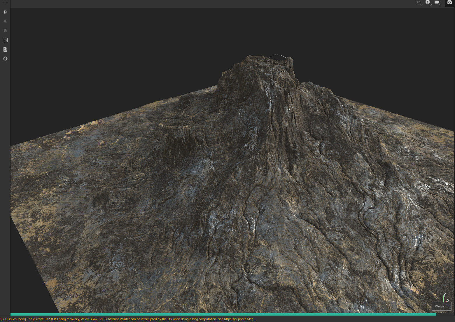 what the mountain mesh looked like in substance painter.