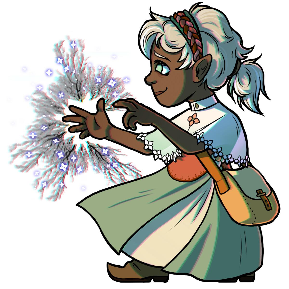 Monarda Winter, a halfling warlock (Great Old One).