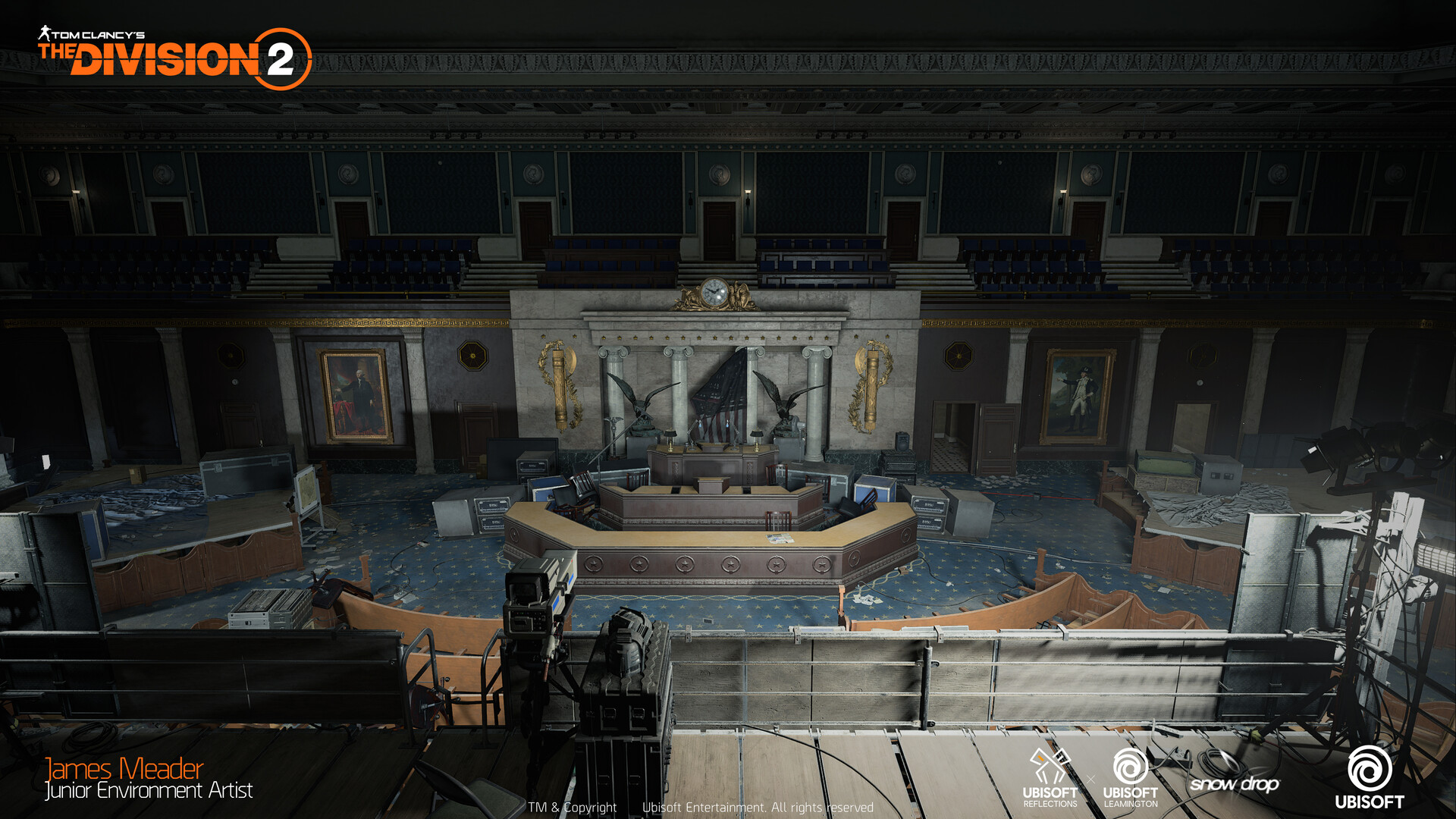 The House of Representatives inside the US Capitol and the final mission of the game. I handle the interior architecture from blockout to final