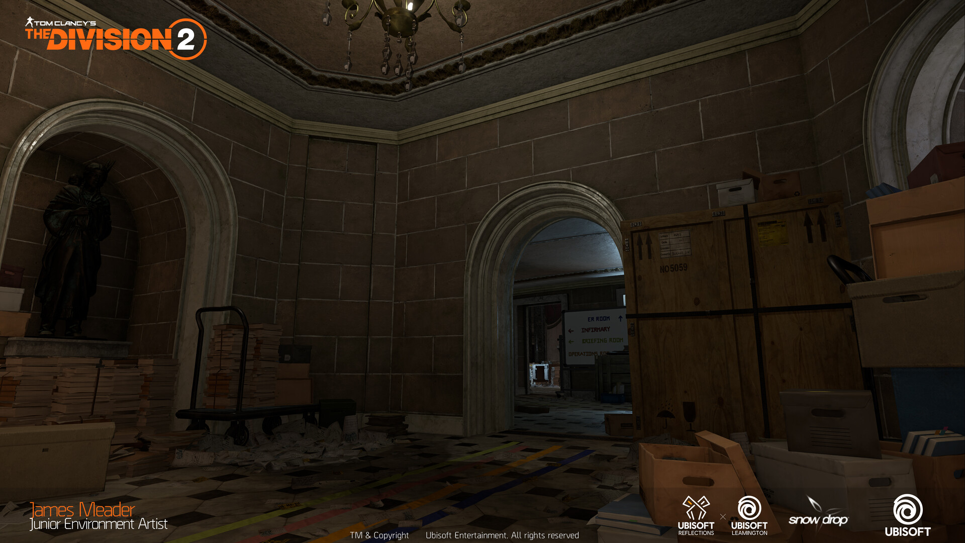 Corridor inside the US Capitol, from blockout to final.
