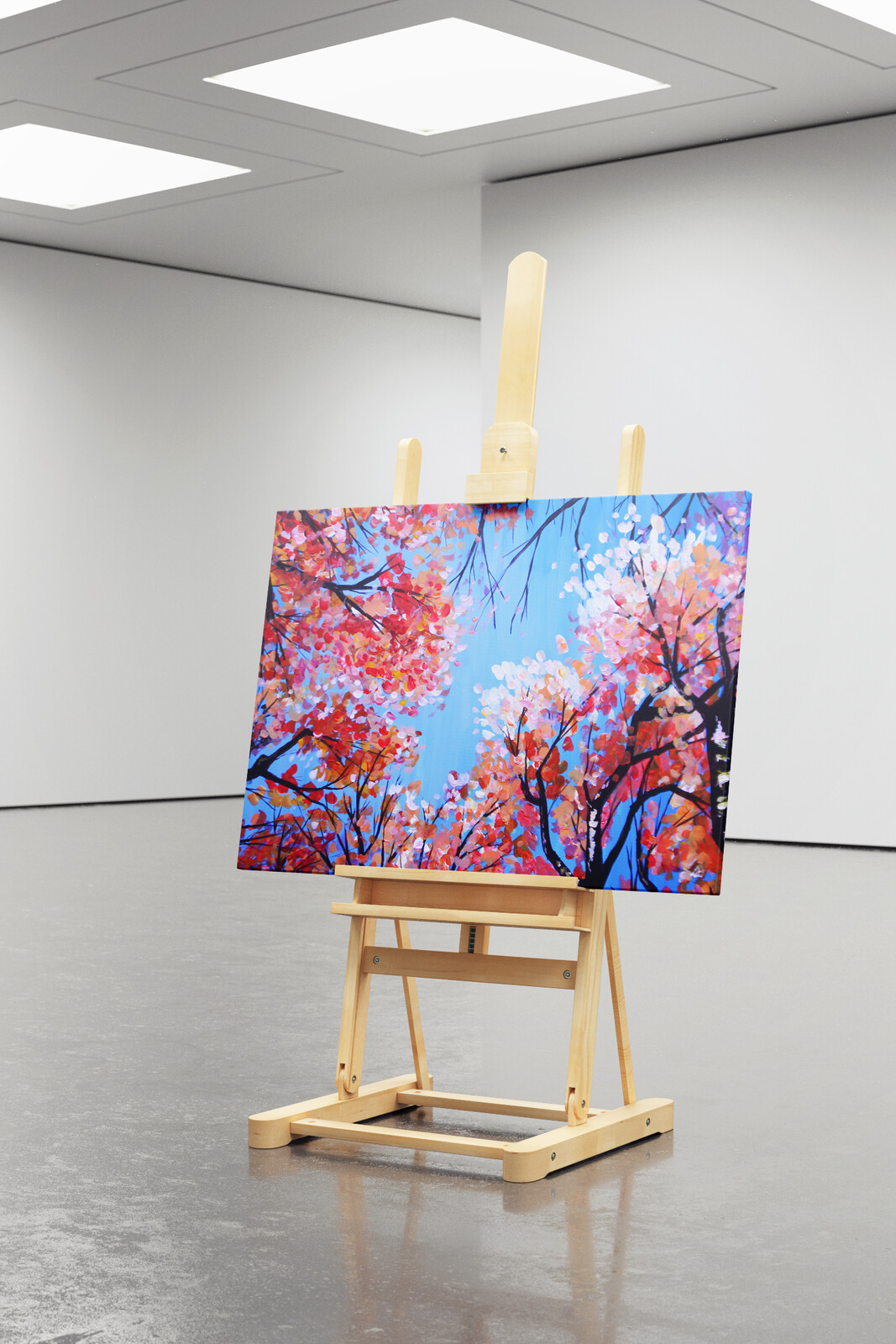 Commissioned acrylic painting of trees in the fall. Displayed on an easel psd mock up.