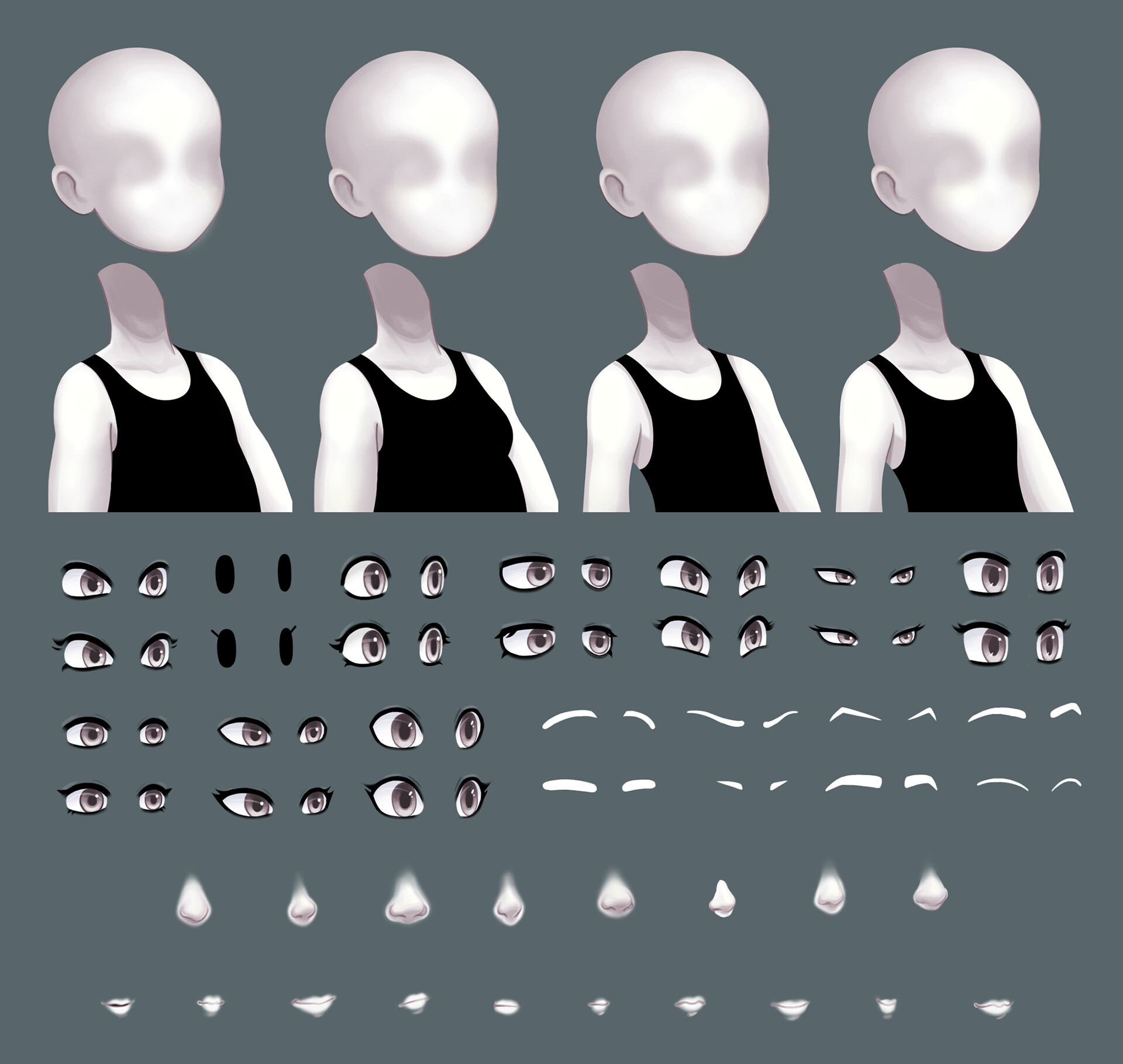 Selection of head and body types, as well as facial features