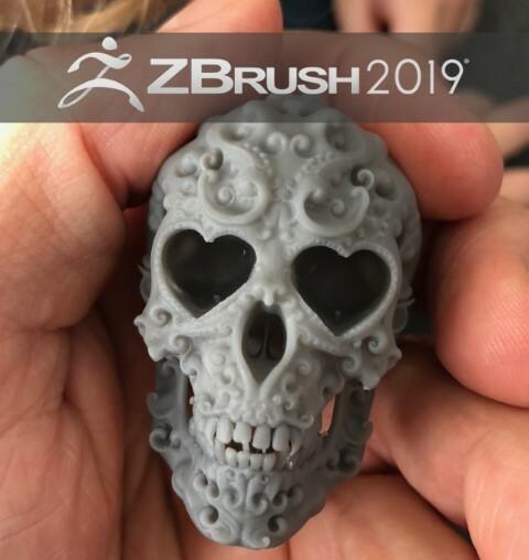 3d skull heart