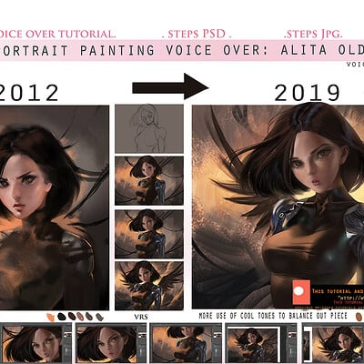 Sakimi chan portrait painting battle angel alita rework voice over guide promo